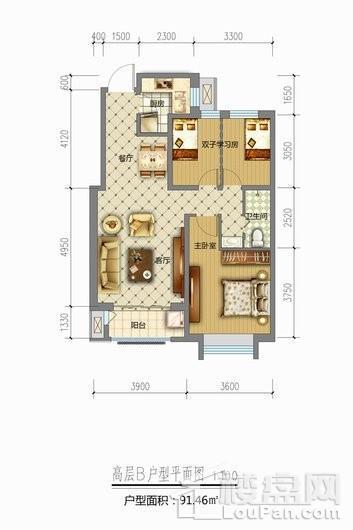 天山熙湖三期高层B户型 3室2厅1卫1厨