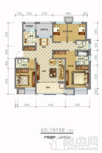 天山熙湖三期高层C户型 4室2厅3卫1厨