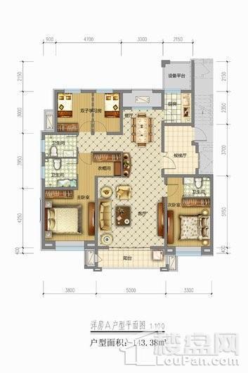 天山熙湖三期洋房A户型 4室2厅3卫1厨
