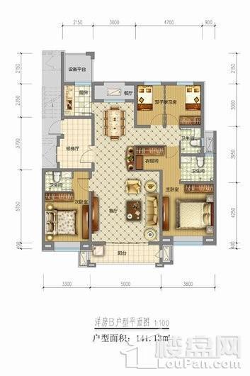 天山熙湖三期洋房B户型 4室2厅3卫1厨