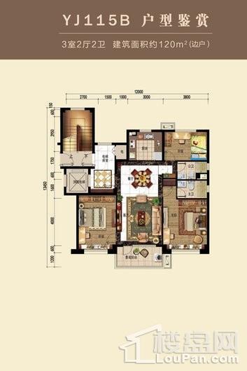 碧桂园桃园里YJ115B户型 3室2厅2卫1厨