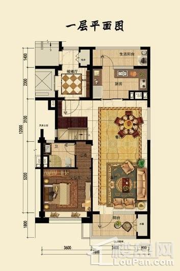 碧桂园桃园里一层平面图 4室2厅3卫1厨