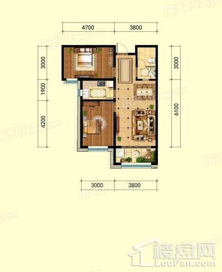 福临名邸8#10#标准层B户型 2室2厅1卫1厨