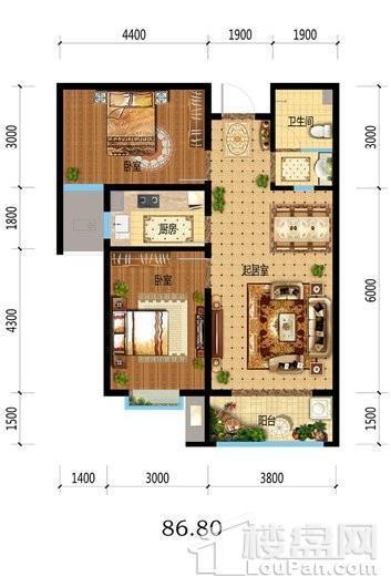 福临名邸8#10#中门标准层户型 2室2厅1卫1厨