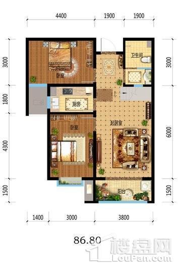 福临名邸8#10#中门18层户型 2室2厅1卫1厨