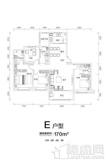 远洋晟庭E户型 4室2厅3卫1厨