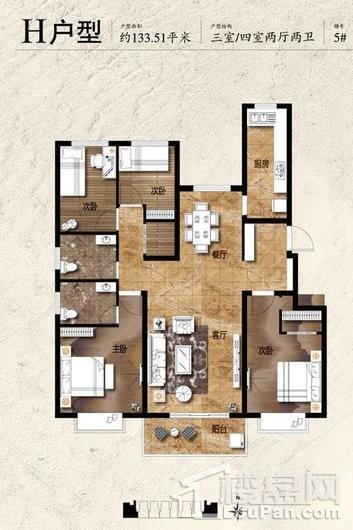 蓝郡绿都5#标准层H户型 4室2厅2卫1厨