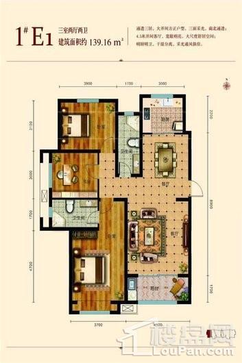和平阳光苑1#E1户型 3室2厅2卫1厨