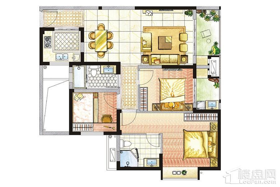 东海湾门第E2户型 3室2厅2卫1厨