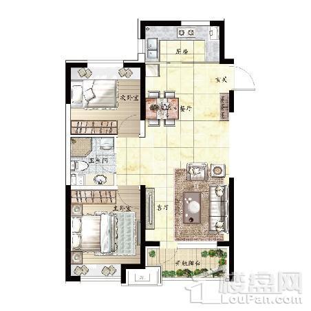 75平 2室2厅1卫C户型