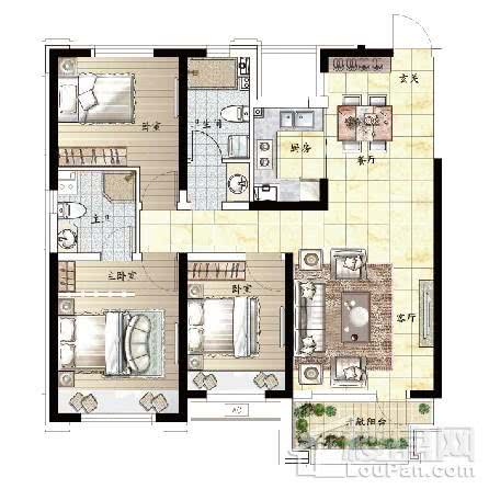 110平 3室2厅2卫F户型