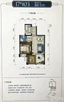 17#二单元03户型 一房两厅一卫 67.66㎡增值面积10.96㎡