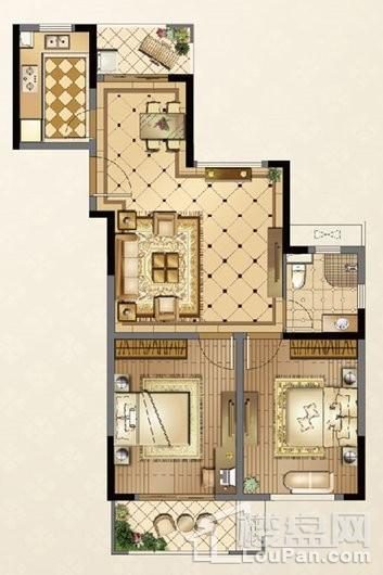 廊桥公馆D户型99㎡ 2室2厅1卫1厨