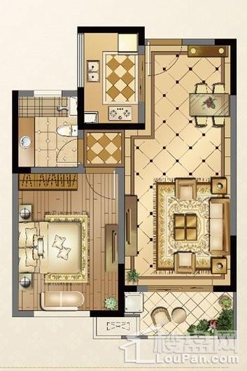 廊桥公馆A户型72㎡ 1室2厅1卫1厨