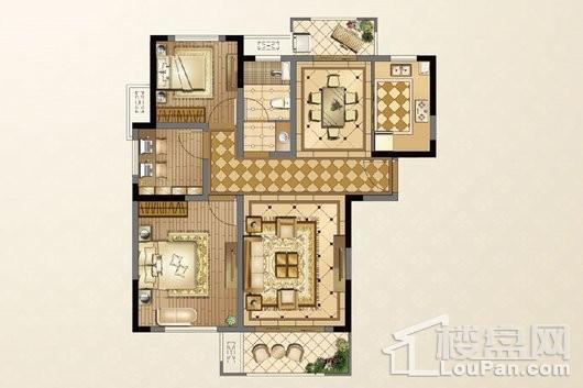 廊桥公馆E户型105㎡ 3室2厅1卫1厨