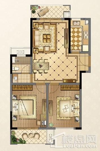 廊桥公馆C户型97㎡ 2室2厅1卫1厨