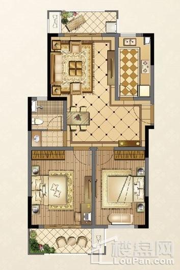 廊桥公馆C3户型93㎡ 2室2厅1卫1厨