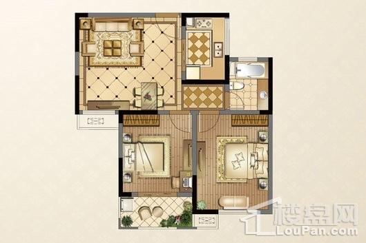 廊桥公馆B户型83-84㎡ 2室2厅1卫1厨
