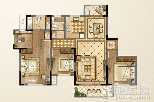 廊桥公馆G户型140㎡ 4室2厅2卫1厨
