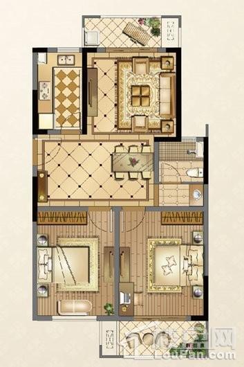 廊桥公馆C2户型95㎡ 2室2厅1卫1厨