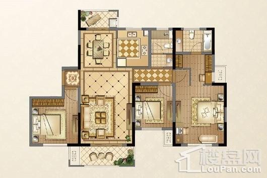 廊桥公馆F户型134㎡ 3室2厅2卫1厨