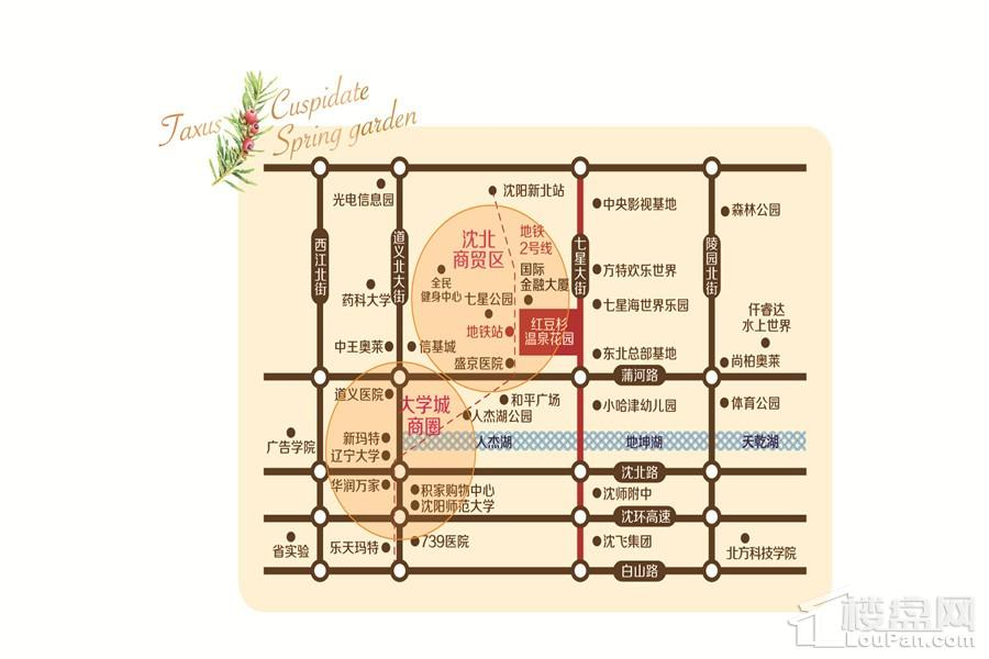 红豆杉温泉花园位置图