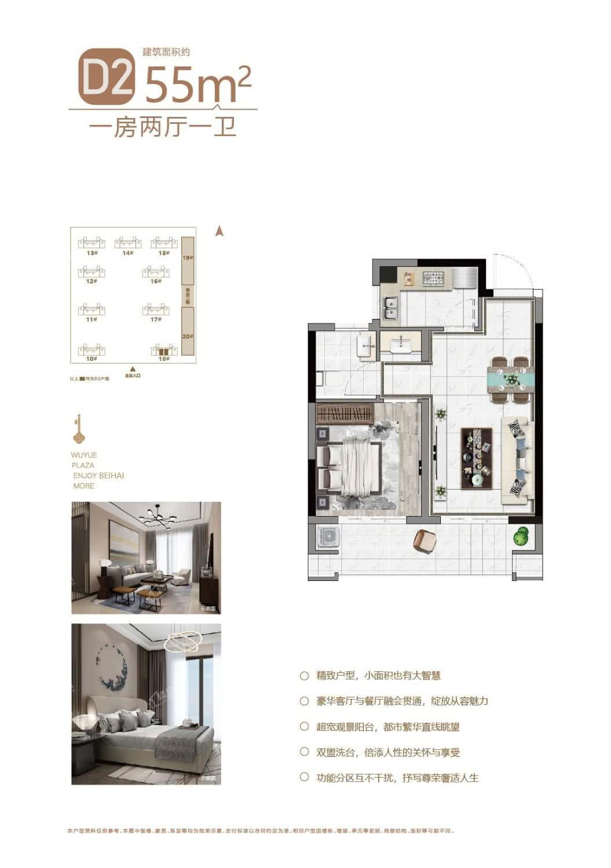 D2户型 55㎡ 一房两厅一卫