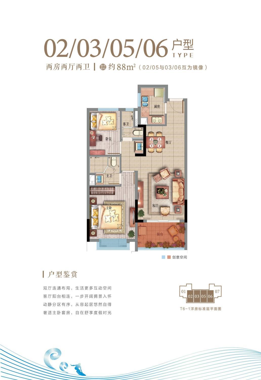 T6-1洋房02-03、05-06户型 两房两厅两卫 约88㎡