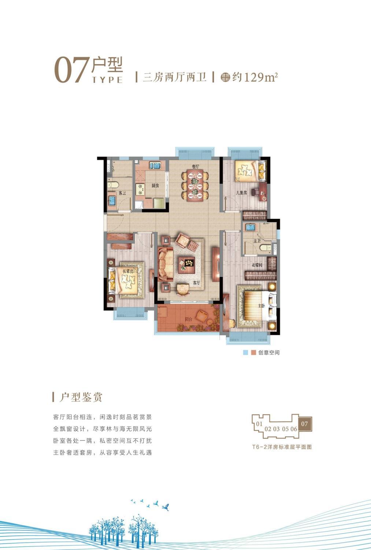 T6-2洋房07户型 三房两厅两卫 约129㎡