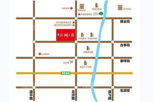 海联江樾府交通图