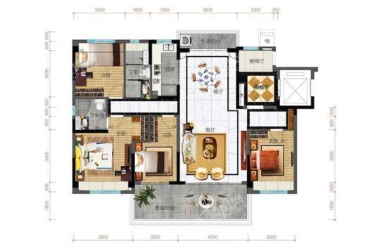 碧桂园中央半岛倚景洋房 4室2厅2卫1厨