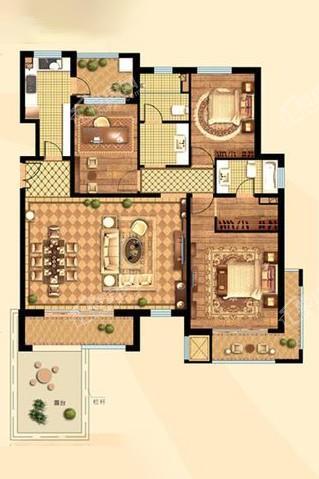 洋房114#115#楼A08户型142.75㎡三居