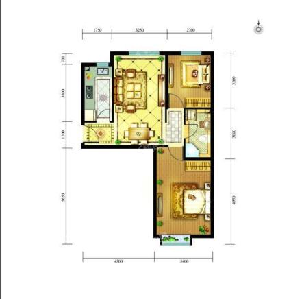 高层130#131#楼C户型108.82㎡两居