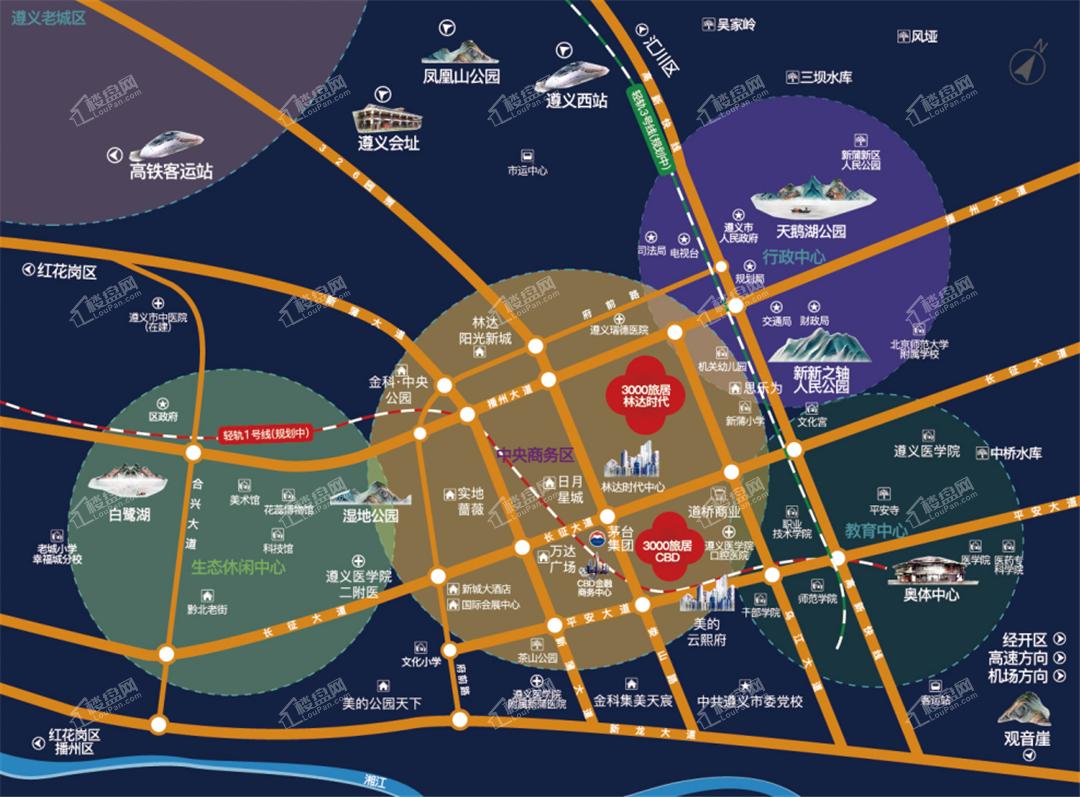 三千旅居CBD天际位置图