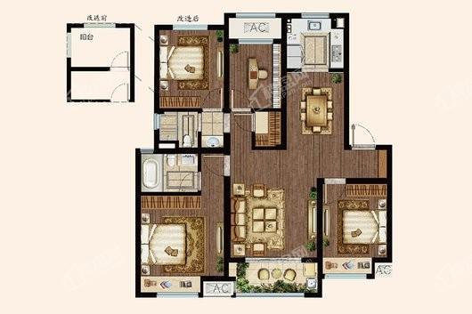 中海寰宇天下普通洋房120平 4室2厅2卫1厨