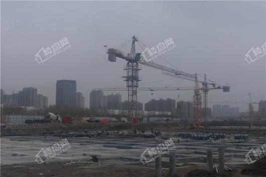 青阳华府项目工地塔吊远景