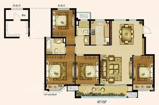 中海寰宇天下退台洋房4-5F131平 4室2厅2卫1厨