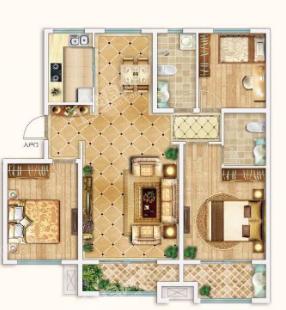新潮崇文花园二期F2户型3室2厅2卫