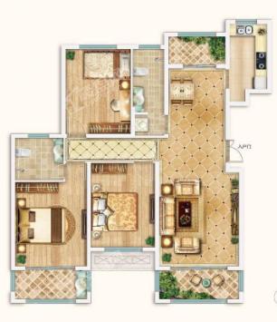 新潮崇文花园二期E户型3室2厅2卫