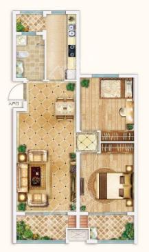 新潮崇文花园二期B3户型两室两厅一卫