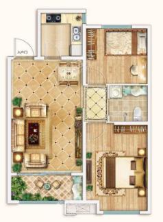 新潮崇文花园二期B2户型两室两厅一卫