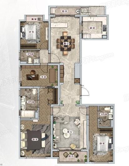 中海建国里建面约220平四室两厅 4室2厅3卫1厨
