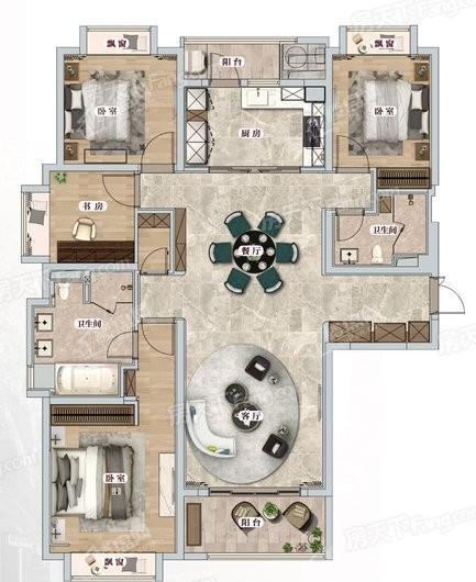 中海建国里建面167平四室两厅 4室2厅2卫1厨