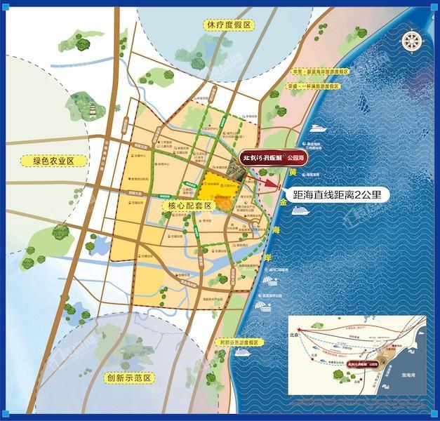 北戴河孔雀城公园海位置图