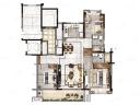B户型 3室2厅2卫 建筑面积:约120m²