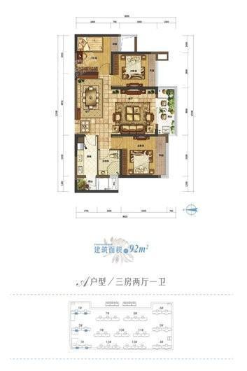 北大资源莲湖锦城1、2、3#建面92平户型 3室2厅1卫1厨