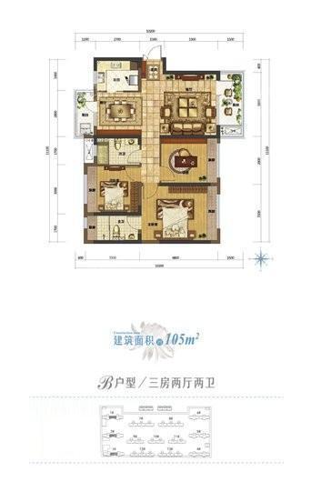 北大资源莲湖锦城1、2、3#建面105平户型 3室2厅2卫1厨