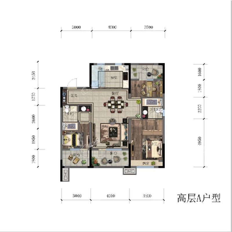 高层119.19平3室2厅2卫A户型