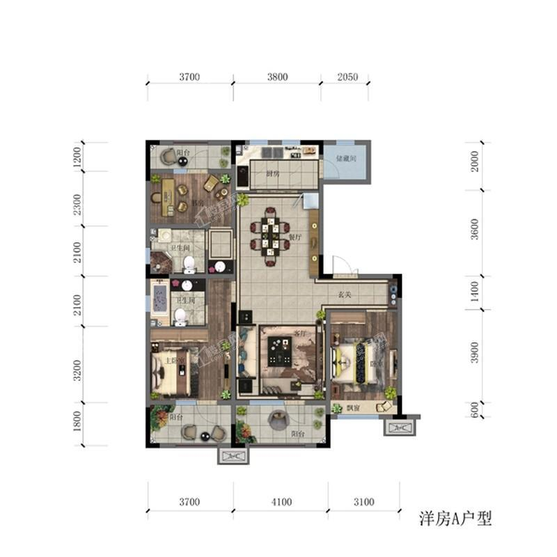 洋房127.43平3室2厅2卫A户型