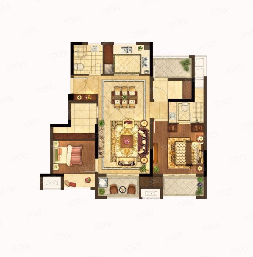 G户型 2室2厅2卫 建筑面积:约98m²